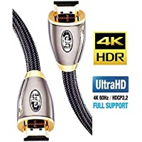 IBRA Cavo HDMI 4K Ultra HD 1M - Ethernet ad Alta Velocità Cavo 2.0b 18 Gbps 4K@60Hz UHD 2160p - PRO GOLD RED