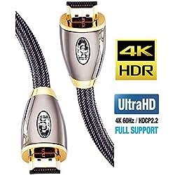 Câble HDMI Ultra HD 4K | High Speed par Ethernet | Full HD 1080P / 2160P / Professionnel / 3D TV / PS4 / ARC et CEC | Câble Triple Blindage - Connecteurs plaqués or - 2M IBRA RED