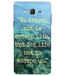Snazzy Traveling Slogan Printed Blue Soft Back Cover For Samsung Galaxy On7