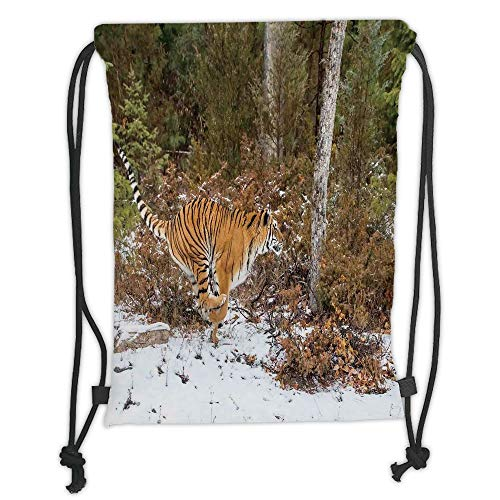 OQUYCZ Drawstring Sack Backpacks Bags,Safari Decor,Bengal Tiger in Snowy Jungle Hunting and Cruising for Prey Furry Majestic Mammal Photo,Orange Green Soft Satin,5 Liter Capacity,Adjustable St