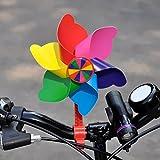 WINOMO Kinder Fahrrad Lenker Blume Pinwheel Windmühle Dekoration für Kinder Fahrrad Scooter (Red Long Pole)