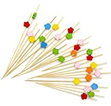 Hosaire 100 Pcs Einweg Fruit Cocktail Picks Sticks Cute Food Pick Party Supplies Teller Picks Dessert Kuchen Schild,Bambus,12 cm