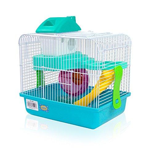 DI ZE LIN PET HOME S.L DZL® Jaula para hamster 27*21*25cm caseta rueda bebedero comedero y escalera incluidos (Azul)