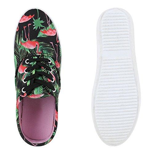 Sportliche Damen Herren Sneakers   Unisex Basic Freizeit Schuhe   Schnürer Stoffschuhe   Prints viele Farben Schwarz Flamingo