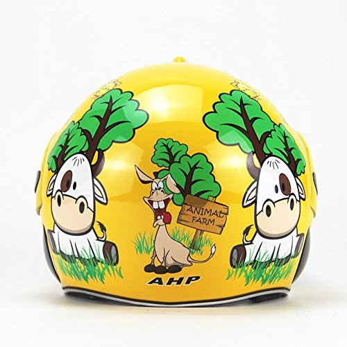 SVIVISP Casco per Bambini Casco Integrale Casco per Scooter Skateboarder Skateboard Bike Moto Harley Casco di Sicurezza,Yellow