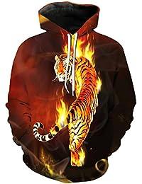 72693971ba2 LKWLI Tigres en Flammes brûlantes Sweats à Capuche Tendance Sweat-Shirts  Pulls