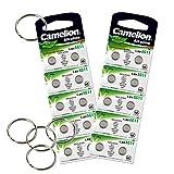 Camelion by SBS Knopfzelle Alkaline Batterie LR 58 AG11 20 Stück 1,5V + 5x Schlüsselringe gratis