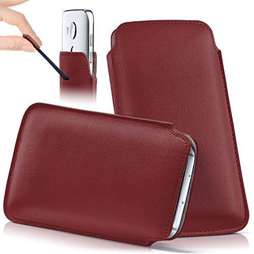 Huawei Y6 (2017) Hülle Rot Sleeve [OneFlow Slide Cover] Ultra-Slim Schutzhülle Dünn Handyhülle für Huawei Y6 (2017) Case Full Body Handytasche Kunst-Leder Tasche