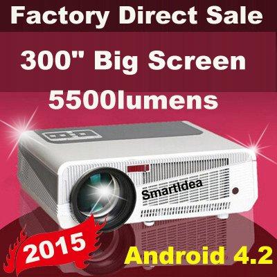 MU mutila Android 4.2 5500 lúmenes 1920 x1080 LED cine en casa-proyector LCD 1080 P HD 3D TV proyectores proyector de vídeo digital