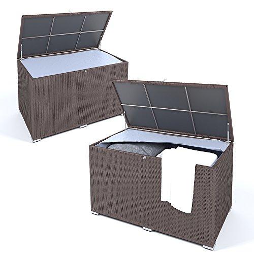 OSKAR XXL Kissenbox wasserdicht Polyrattan 950L Braun Auflagenbox Gartenbox Gartentruhe Aufbewahrungsbox