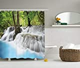 JAKE SAWYERS Waterfall Decor Collection, Mystic Erawan Waterfall in Forest Fogs Over Pool Picture, Polyester Fabric Bathroom Shower Curtain Set with Hooks, 75 inches Long, Blue White Green