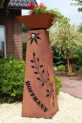 """Rost Säule + Schale konisch RS73 + S11 """"IHR EIGENER NAME"""" / kostenloser Versand Garten Rostsäulen Blumensäule Deko Rostsäule von Jabo-Design - Du und dein Garten"""