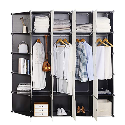 Woltu sr0102she diy armadio a cubo grande guardaroba pieghevoli stanzino combinato ripostiglio modulare scarpiera nero+bianco