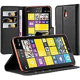 Cadorabo - Etui Housse pour Nokia Lumia 1320 - Coque Case Cover Bumper Portefeuille (avec stand horizontale et fentes pour cartes) en NOIR DE JAIS