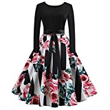 Moonuy Kleid + Sashe Halloween Damen Langarm Kleid Damen Knielangen Rock O-Ausschnitt Druck Vintage Empire-Taille Kleid Party Kleid