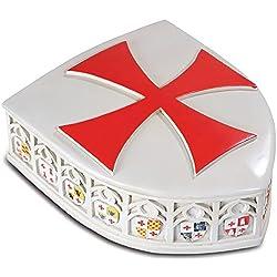 Medieval escudo templario con caja