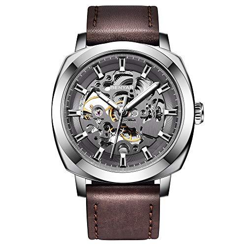 By BENYAR - Herren Automatische Mechanische Armbanduhr | Lederband | Goldene Bewegung | 45 mm Skeleton Dial | Wasser- und Kratzfest Erhältlich in Multi Color Band