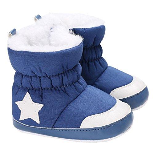 Janly Schuhe für 0-2 Jahre Baby, Winter Warm Booties Mädchen Boy Star Baumwolle Schnee Stiefel Infant Kleinkind Zip Crib Schuhe Erste Wanderer (12-18 Monate, Blau) (Baby Bootie Täglichen)