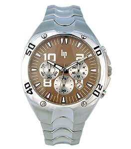 Lip Style - 1057922 - Montre Homme - Quartz Analogique - Cadran Marron - Bracelet Métal Argent