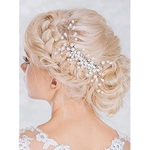 Aukmla Bridal prachtvolle Kopfbedeckung, Hochzeitshaarkamm mit Perlen und Strasssteinen für Frauen und Mädchen