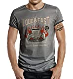 Körperbetontes Slimfit Hot Rod Racer T-Shirt im Used Vintage Look: Loud and Fast L
