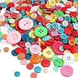 Tatuo 1000 Stück Knöpfe Runde Craft Harz Knöpfe zum Basteln und Nähen von Dekorationen, 2 Löcher und 4 Löcher (Mehrfarbig)