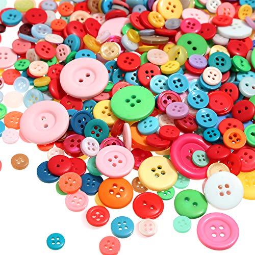 Tatuo 1000 Stück Knöpfe Runde Craft Harz Knöpfe zum Basteln und Nähen von Dekorationen, 2 Löcher und 4 Löcher (Mehrfarbig) (Klebeband-jacke)