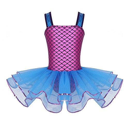 Freebily Mädchen Festliches Kleid Meerjungfrau Cosplay Kostüm Ballett Tutu Balletkleid Glänzend Balletttrikot mit Tütü Rock Tanzkleid Ballettanzug Ballett Outfit Blau ()