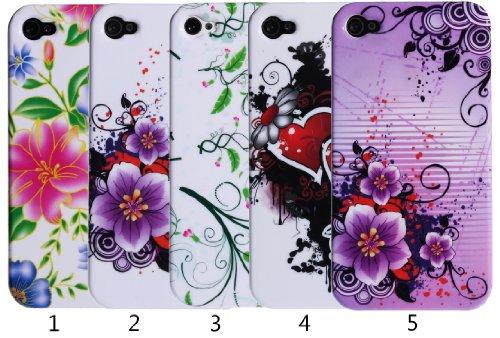 wortek buntes farbiges Hardcase Apple iPhone 4 / 4S Schutzhülle (Harte Rückseite) Schmetterlinge Weiß Rosa Schwarz Blumen Lila Weiß