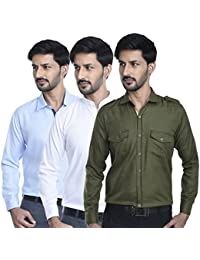 Mark Pollo Cotton Rich Fabric With Linen Look Slim Fit Shirts Pack Of 3 (Light Blue, White, Green With Double...