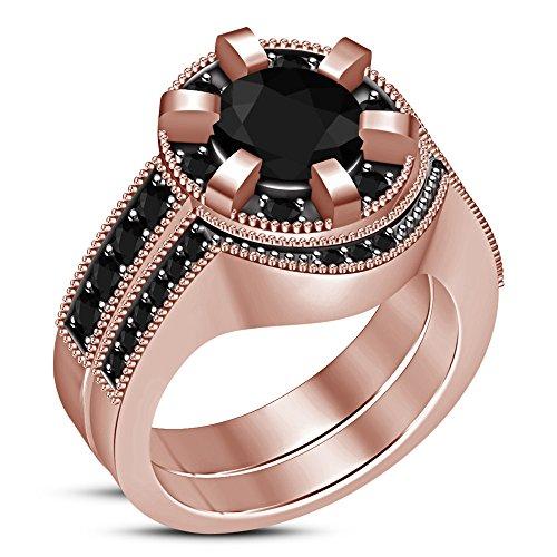 Lilu gioielli in argento sterling nuziale set anello di fidanzamento wedding band con taglio rotondo zircone nero e argento, 17,5, cod. rg28608_12