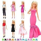 Miunana 6 Bekleidung Kleider +12 Paar Schuhe, Modische Rock Bluse Hose Kleidung Outfit Sommerkleid für Barbie Puppen
