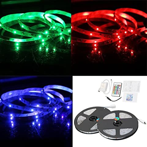 SODIAL(R)2x5M 10M 3528 SMD 600 LED RGB Light Lamp Flexible Strip Ribbon +24 Key Colours IR Controller. Ideal For Gardens, Homes, Kitchen, Under Cabinet, Aquariums, Cars, Bar, Moon, DIY Party Decoration Lighting