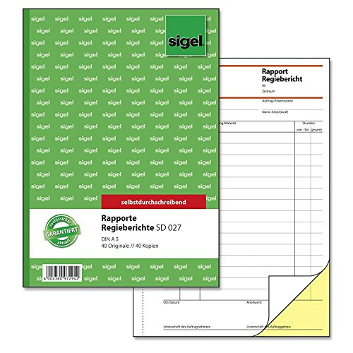 Sigel SD027 Rapport / Regiebericht A5, 2x40 Blatt, selbstdurchschreibend (10 Stück)