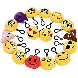 Mini Emoji Llavero Emoción Llavero Felpa Zindoo Fiesta de Cumpleaños Favores Rellenos del Bolso del Partido Regalitos Divertidos para las Fiestas de los Niños Colgante de Decoración para Coche 16 PCS