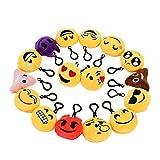 16pcs Portachiavi Emoji Zindoo Emoticon Faccine Peluche Emoji Mini Portachiavi Decorazioni Zaino e Regalo per Bambini, San Valentino, Natale, Compleanni Partito Decorazione