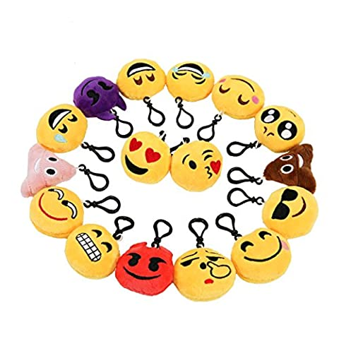 Zindoo 16 Pack Mini Emoji Keychain Emoji Plush Toy Pillow 2