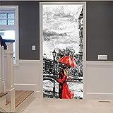 3D Tür Wandaufkleber Paar Unter Roten Regenschirm Diy Wandgemälde Schlafzimmer Vinyl Abnehmbare Tür Aufkleber Poster Für Zuhause Schlafzimmer Dekoration Wohnzimmer 77X200 Cm Autocollants