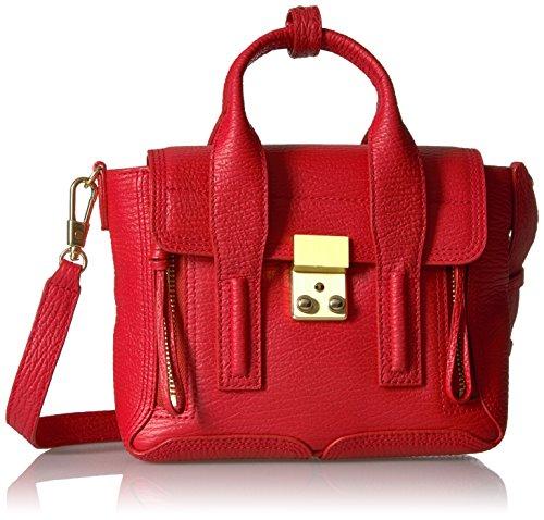 3.1 Phillip Lim Pashli Handtasche Mini Satchel aus edlem, genarbtem Leder Rot