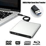LeaningTech Upgrade Version Portable Ultra Slim CD externe Lecteur Blu-Ray DVD, Lecteur de disque, graveur, graveur et Super Drive pour Mac, Windows, Vista, USB 3.0, Aluminium Alliage Shell (Argent)