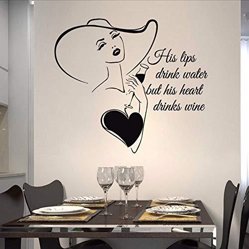 Xzfddn Küche WandaufkleberSexyN Weinglas Vinyl Aufkleber Zitate Seine Lippen Trinken Wasser Bar Interior Wein Kunstwandhauptdekor