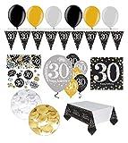Feste Feiern Geburtstagsdeko Zum 30 Geburtstag | 31 Teile Luftballon Wimpel Blüten Konfetti Gold Schwarz Silber Party Deko Set Happy Birthday