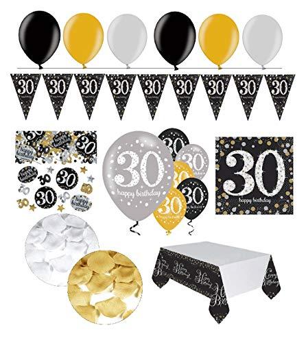 tagsdeko 30. Geburtstag   31 Teile Deko-Set Luftballon Wimpel Girlande Konfetti Serviette Tischdecke Gold Schwarz Silber metallic Party-Set ()
