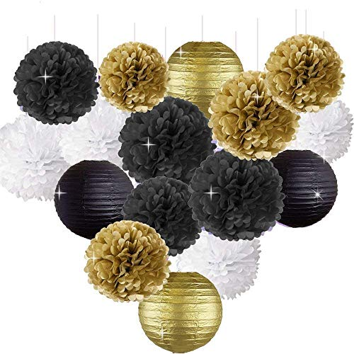 Erosion Frohes Jahr Party Dekorationen Schwarz Weiß Gold Seidenpapier Pom Pom Papier Laternen für Great Gatsby Dekorationen/Silvester Party/Geburtstag Dekorationen/Bridal Shower Dekorationen