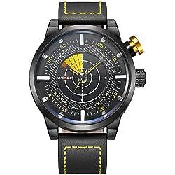 Alienwork Quartz Watch XXL Oversized Wristwatch Outdoor Leather black black OS.WH-5201-4
