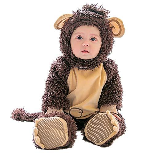 Baby Strampler Herbst Winter Flanell Jumpsuit Jungen Mädchen Pyjama Kinder Kleinkind Pjs Halloween Tier Cosplay Kostüm, 100 cm