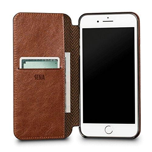 Ultra Dünnes WalletBook Leder Schutzhülle für iPhone 8Plus/7Plus, Cognac Walletbook Case