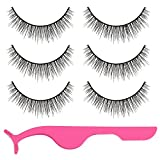 Lictin 3 Paar Falsche Wimpern Künstliche Wimpern Falsche Wimpern Set Falsche Eyelashes mit Wimpern Applicator