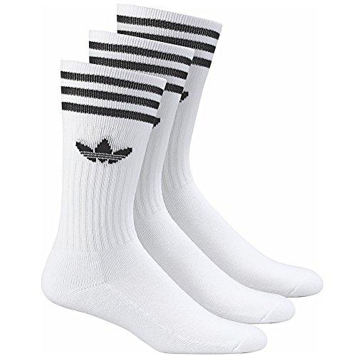 adidas Herren Socken SOLID CREW SOCK 3 PACK, white/black, 43-46