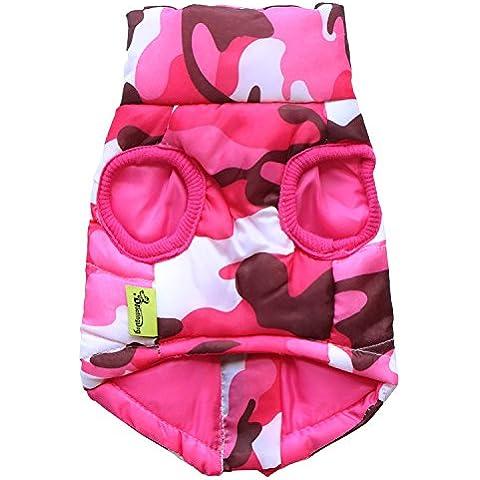 abrigo de invierno para mascotas de algodón suave y cálida acogedora conceden la chaqueta ropa de perro 2 colores 5 tamaños de 2 piezas , pink ,